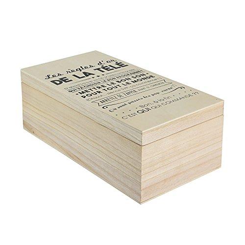 LA BOITE A CMBT6688 - Caja con Mando a Distancia, Madera, Color Beige/Negro, 14 x 27 x 10 cm