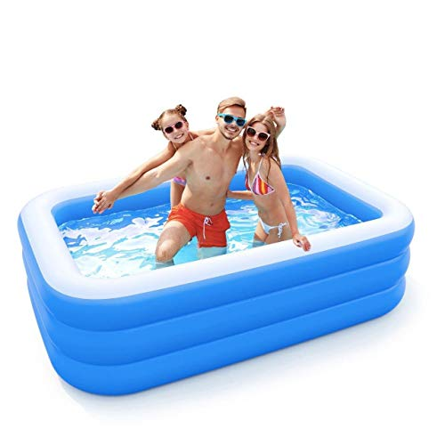 Inflatable Pool for Adults, Kids, Family Kiddie Swimming Pool - Blow Up Rectangular Large Above Ground Pool Floats for Lounging Outdoors, Backyard for Baby - Use w/ Water Slide, Sprinkler Splash Pad