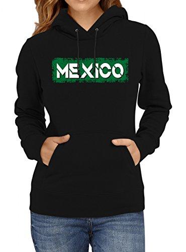 Shirt Happenz Mexiko Weltmeisterschaft 2018#29 Premium Hoodie Fan Trikot Fußball WM Nationalmannschaft Frauen Kapuzenpullover, Farbe:Schwarz;Größe:XL