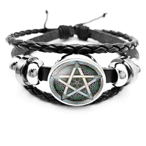 Dan's Collectibles and More Pentagram Pentacle Bracelet Pagan Occult Wiccan Wicca Leather Witchcraft Goth Halloween Game of Thrones Horror Emo Rock Earth Spooky Costume Sabrina (GRNPNBR)
