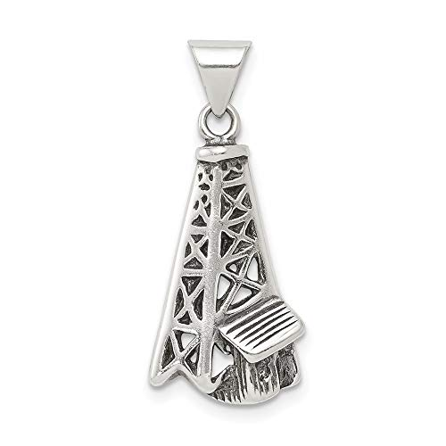 925 Sterling Silver Oil Derrick Pendant Charm Necklace Travel Transportation Career Professional Tool Man Fine Jewelry For Dad Mens Gifts For Him