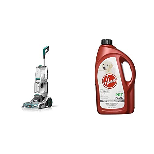 Hoover Smartwash Automatic Carpet Cleaner, FH52000, Turquoise & PETPLUS Concentrated Formula, 64oz Pet Stain and Odor Remover, AH30320, Green