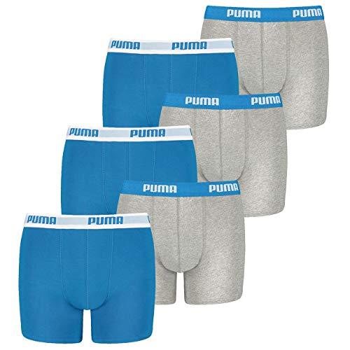 PUMA 12 er Pack Boxer Boxershorts Jungen Kinder Unterhose Unterwäsche, Farbe:417 - Blue/Grey, Bekleidung:176
