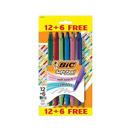 BIC Bolígrafos retráctiles de tacto suave, agarre cómodo al tacto, punta media, 1,0 mm, 8 colores surtidos, paquete de 12+6