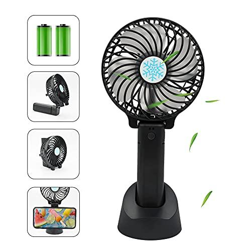 Xiangmall Mini Ventilatore Palmare Portatile Ventilatore USB Silenzioso Ventola Ricaricabile con Batteria e Base per Casa Ufficio Esterno Viaggi Campeggio (Nero)
