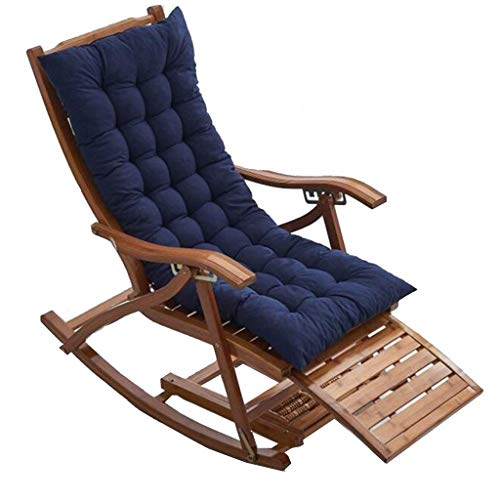 LLSS Sillas de Camping Tumbonas de jardín Silla Plegable Sillón reclinable de bambú Plegable, Mecedora Ajustable de 5 velocidades, Almohadilla de algodón y Masaje de pies, tum