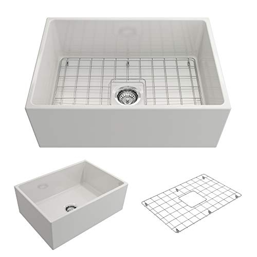 BOCCHI 1356-001-0120 Contempo Apron Front Fireclay 27 in. Single Bowl Kitchen Sink with Protective...