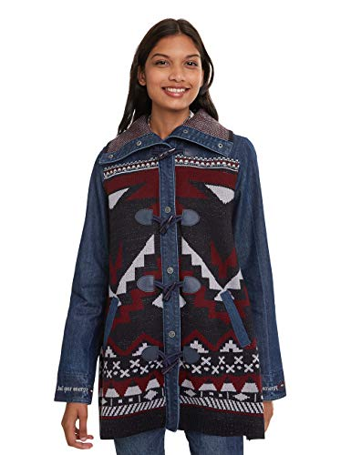 Desigual Coat NAVAI Abrigo, Azul (Denim Dark Blue 5008), 40 (Talla del Fabricante: 38) para Mujer