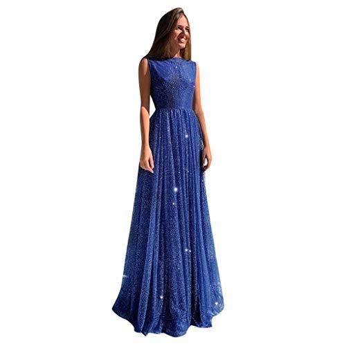 Shinehua Dames blauwe jurk glitter lange baljurk glitter jurk mouwloos rugvrij maxi-jurk feestelijke jurk elegant lange avondjurk pailletten zomerjurk cocktailjurk partyjurk