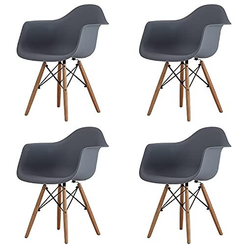 Juego de 4 piezas, silla nórdica de comedor, sala de estar, ocio, simple y moderno y creativo, suave, silla para el hogar, cómoda para computadora con respaldo de reposabrazos (gris-D, 4)