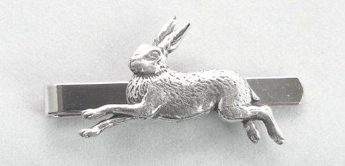 Krawattennadel Rennender Hase (Rutsche), Englisch Zinn, Hase, mit Geschenkbox