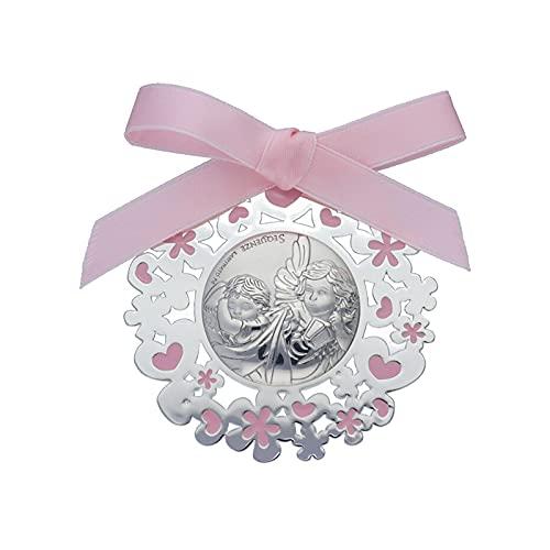 Medalla para Cuna/Carro Ángel y Niño Esmalte Rosa Plata Bilaminada