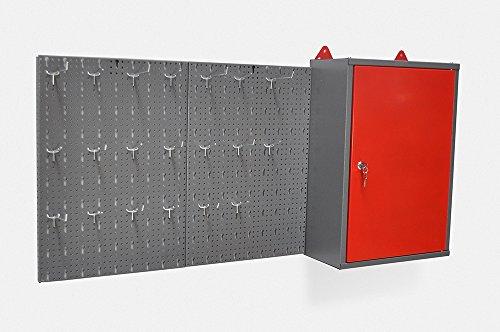 Metallschrank inklusive Hakenwand mit 20 Haken und Euro Lochung. Aus robustem Material in Hammerschlag-Grau und Rot. Topp für den Heim- und Industriegebrauch.