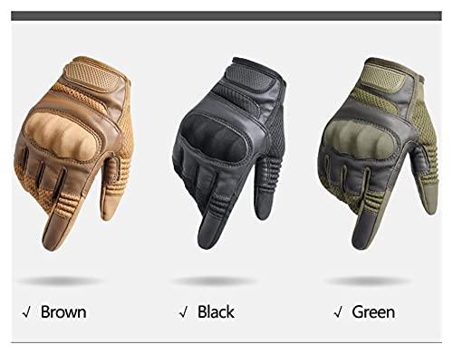 Pingping ZZPING Guantes de Motocicleta Hombres PU Cuero Pantalla táctil Transpirable Duro Knuckle Moto Montar Engranajes Protectores Motocross Guantes (Color : Brown, Size : XL)