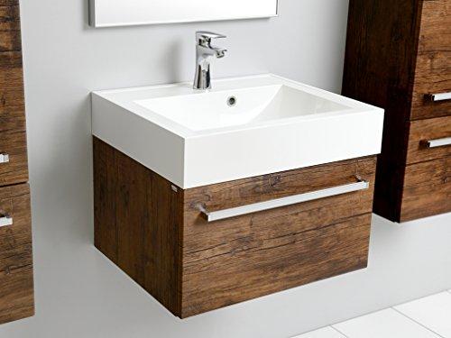 Quentis Badmöbel Zeno, Breite 60 cm, Waschplatz 2-teilig, Unterschrank mit Einer Schublade, Holzdekor antik, Waschbeckenunterschrank montiert