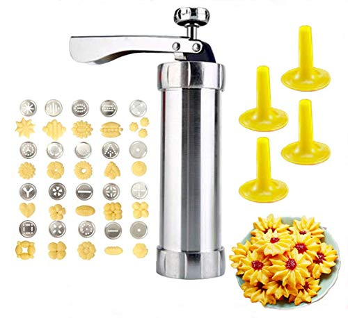Milaski Cookie Maker,Cookie Press Gun Kit,Stainless Steel Biscuit Press Maker (with 20 Disc and 4 Nozzles) Homemade Baking Tool Biscuit Cake Dessert DIY Maker and Decoration