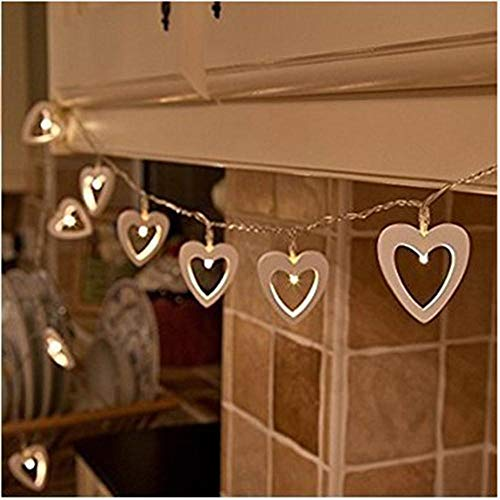 Fairy Lights LED Creative Wooden Heart Love String Lights Window Curtain Icicle 20 LEDs 3M for Christmas Tree Xmas Party Wedding Events Outdoor Indoor Garden Home Decoration Waterproof Warm White