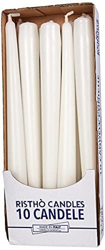 Cereria di Giorgio Risthò Candele Coniche per Candeliere, Cera, Bianco, 2.2 x 25 cm, 10 unità