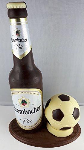 04#022621 Schokolade, Bierflasche, in ORIGINAL Größe, mit Fußball, Krombacher Bier, Bierflasche aus Schokolade, Schokoladenbierflasche, mit Fußball, Vatertag, echte Etiketten,'