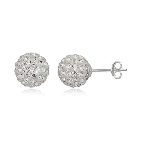 Orecchini a sfera Designer Inspirations Boutique  10 mm, con brillantini, in argento sterling, 25 colori disponibili, argento, colore: White Crystal, cod. 10MM-UNP3826BTA-DBSTUD-WC-EAR