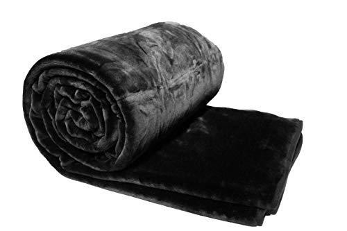 Solaron King Solid Black Korean Mink Blanket - Black