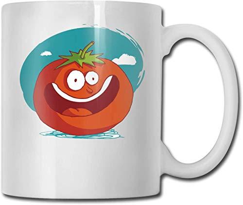 Lustige Cartoon-Tomaten Einzigartige Keramik weiße Kaffeetasse Teetasse für Büro Home Fun Neuheit Geschenk 11 Unzen lustige Getränketasse für Männer Frauen