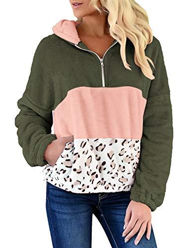 GRAPENT Women's Loose Green Leopard Print Zipper Hoodie Colorblock Sweatshirt Casual Fuzzy Fleece Pullover Sweater Oversized Kangaroo Pocket Fluffy Jacket Coat Small