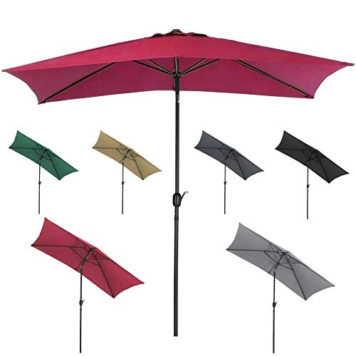 DKIEI 2 * 3M Rectangle Garden Parasols Outdoor Patio Umbrellas with Crank Handle & Tilt Sun Protection Waterproof for Commercial and Residential Use Terrace Balcony, Red wine
