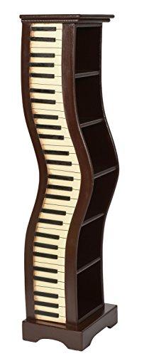 ts-ideen Mobiletto Comodino Colonnina porta CD-DVD in marrone stile retro motivo Pianoforte 78 x 28 cm