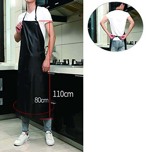 ZZXXBB Adult Household Apron, Kitchen Waterproof Oil-Proof Fashion, PVC Men and Women Aquatic Products -Black 80x110cm(31x43inch)