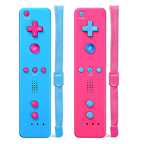 Wii Controller,Wii Remote Controller 2 Pack Compatible with Nintendo Wii,with Wrist Strap and Case Pink & Blue