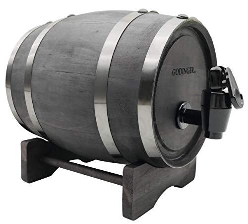 Godinger Barrel Liquor Dispenser, Wooden Beverage Dispenser - 800ml
