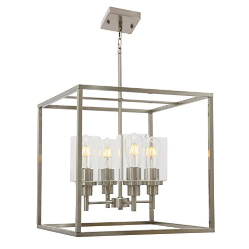 4 Light VINLUZ Glass Pendant Lighting Brushed Nickel,Metal Frame Lights Fixture Contemporary Chandelier for Living Room Dining Room Adjustable