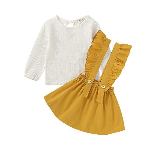 1-6 años Conjunto de Ropa de Moda para niñas bebés Conjunto de Vestido de Tirantes para niñas 2 Piezas, Amarillo, 3-4 años