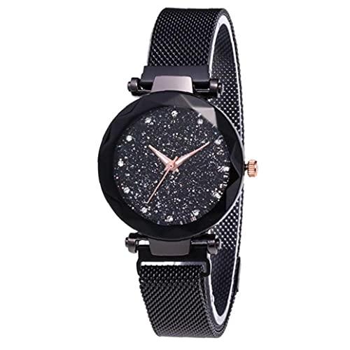Murezima Frauen Armbanduhr Analog Quarz Bewegung Armbanduhren Mit Pu Armband Klassische wasserdichte Sternenhimmel Dial Watch 1pc Schwarze Frauenuhr