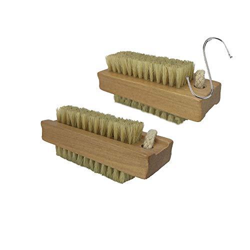 BINHAI Holznagelbürste Naturborsten Nagelbürsten zur Reinigung der Nägel der Hände (Doppelpackung)
