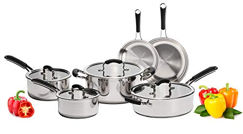 Stainless Steel Pots and Pans Set: 10 Piece Titan Cookware...