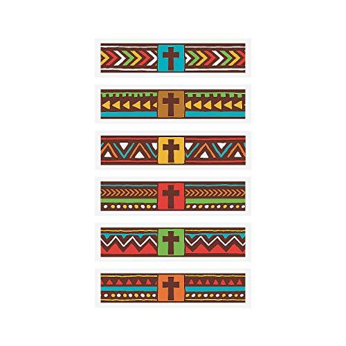 Fun Express - African Safari Vbs Band Tattoos - Apparel Accessories - Temporary Tattoos - Regular Tattoos - 72 Pieces