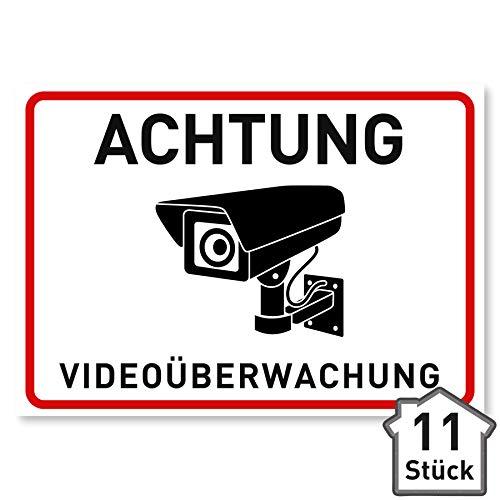 11 x Aufkleber Videoüberwachung - A6 (14,8 x 10,5 cm) - Schild - Hinweisschild - Warnschild - Achtung Videoüberwachung für Fenster und Türen - Warnhinweis für außen - V2