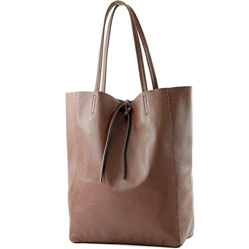 modamoda de - T163 - Ital. Shopper mit Innentasche aus Leder, Farbe:Braun