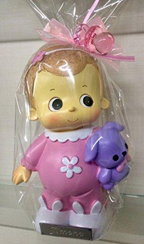 Figura bautizo niña hucha tarta GRABADA figuras PERSONALIZADAS huchas infantiles pastel