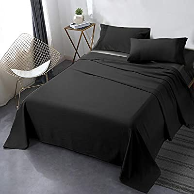 """Secura Everyday Luxury Queen Bed Sheet Set 4 Piece - Soft Microfiber 1800 Thread Count 16"""" Deep Pocket Sheet Sets - Hypoallergenic, Wrinkle & Fade Resistant (Black) by Secura Everyday Luxury"""