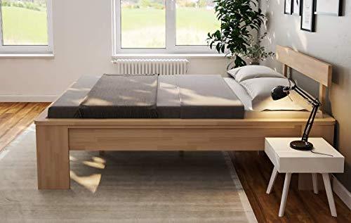 Doppelbett Komfortbett Buche 200x200 Holzbett erhöhte Liegefläche Bett Ehebett-...