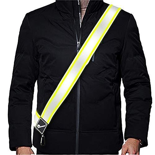 SUNFREEP Visibility Reflective Sash/Running/Dog Walking/Cycling/Various Sizes Adjustable Waist for Women/Men/Seniors/Kids/Lightweight Durable Versatile NoFuss Night Safety Gear(Silver Green)