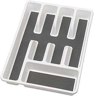 WENKO Range-couverts antidérapant - Insert pour couverts, pour tiroirs, Polypropylène, 26.5 x 5 x 36.5 cm, Blanc