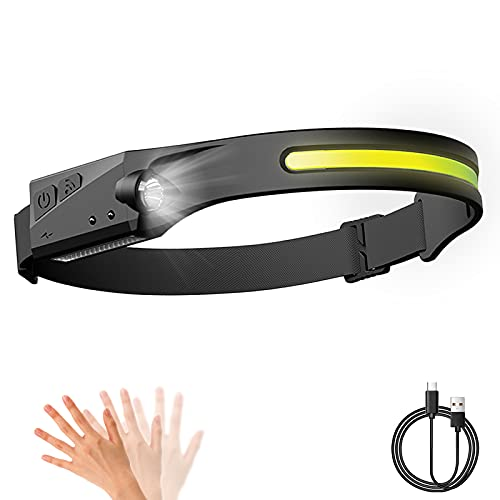 Head Torch, 5 Modes COB XPE 2 LED Induction Headlights,USB Rechargeable...