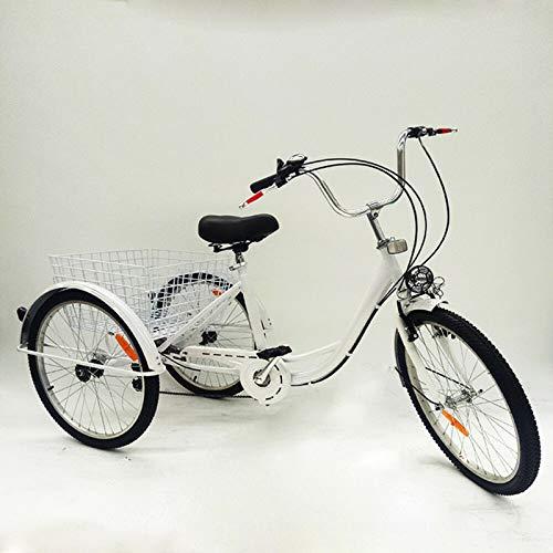 Triciclo para adultos, 3 bicicletas, para personas mayores, para adultos, con cesta y faro, 24 pulgadas, 3 ruedas, con cesta y luz, para personas mayores, compras, triciclo (color blanco)