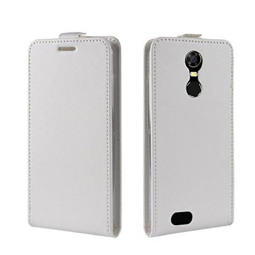 LMFULM® Hülle für OUKITEL C8 3G / 4G (5,5 Zoll) PU Leder Magnet Brieftasche Lederhülle Up-Down-Flip Design Standfunktion Ledertasche Cover für OUKITEL C8 Weiß