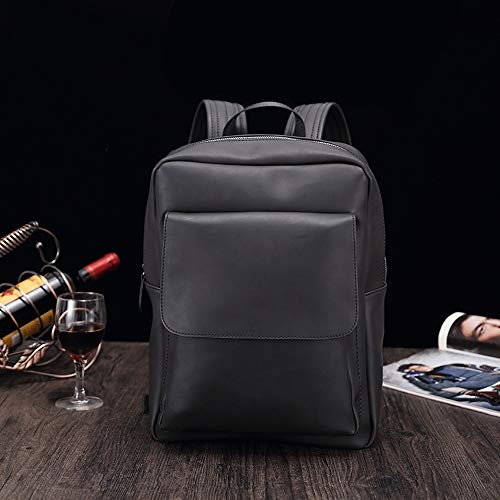 CLCCYYSJD Fully Waterproof Leather Multi-Functional Practical Large-Capacity Backpack, Fashion Retro Men's Casual Backpack, Youth Student Bag (Color : Black)