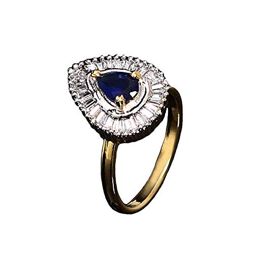 CaratYogi Latest Enamel Work Ring Pear Blue Sapphire, Cubuic Zircon Blue-White Intricately Handcrafted in 14K Gold Plated Hand Jewellery for Girls Ladies Women MMR 10 A-Blue